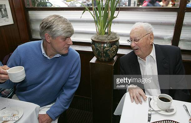 San Francisco earthquake survivor Herbert Hamrol talks with a well wisher while having lunch at John's Grill April 4 2006 in San Francisco Earthquake...