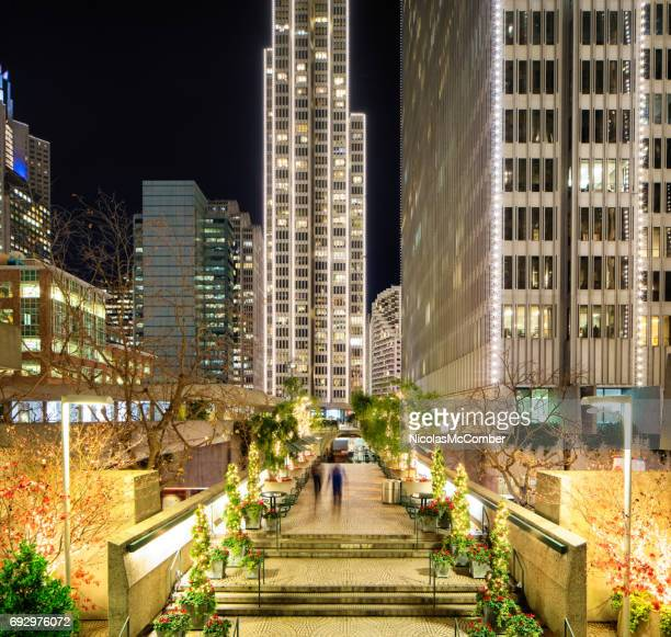 San Francisco elevated walkway at night decorated for Christmas