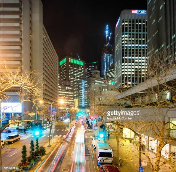 San Francisco Embarcadero area at night looking down Drumm street