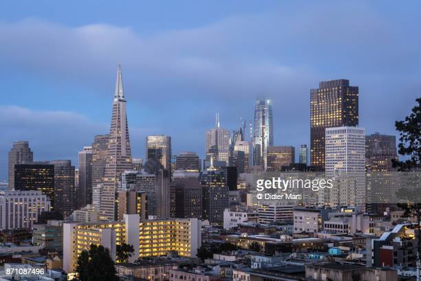 San Francisco financial district skyline at night in California, USA