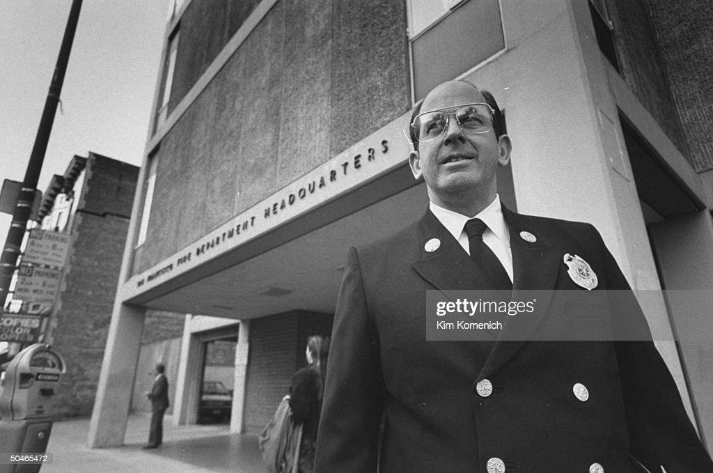 San Francisco Fire Chief Fred Postel in uniform, posing in