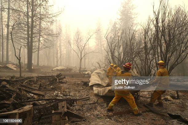 San Francisco firefighters dismantle a burned mobile home as they search for human remains at a mobile home park that was destroyed by the Camp Fire...