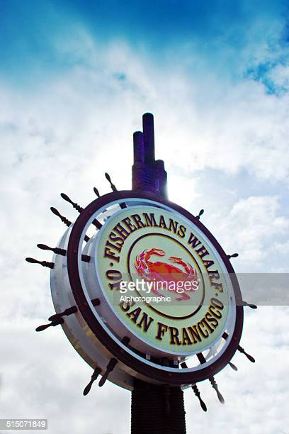 san francisco fisherman's wharf sign - fishermans wharf stock pictures, royalty-free photos & images