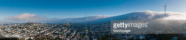 san francisco fog twin peaks mission district homes panorama california - corona stock pictures, royalty-free photos & images