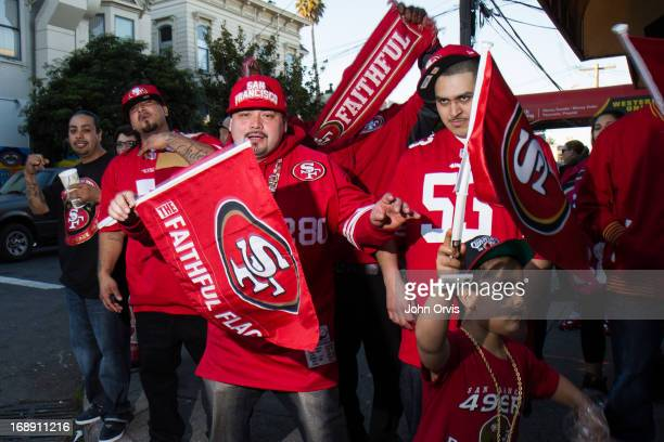 San Francisco Forty-Niners fans take to the streets to celebrate after a playoff victory over the Atlanta Falcons. The San Francisco Forty-Niners...