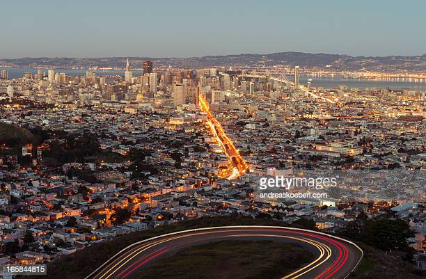 San Francisco from Twin Peaks with car light trail