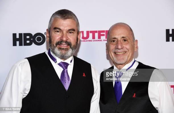 San Francisco Gay Men's Chorus members David McFadden and Sal Baglieri arrive at the 2019 Outfest Los Angeles LGBTQ Film Festival Screening of Gay...