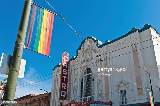 san francisco gay pride flag castro theater - castro district stock pictures, royalty-free photos & images
