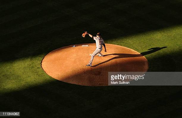 San Francisco Giant starting pitcher Tim Lincecum on the mound in the first inning during the 2011 season opening game against the Los Angeles...