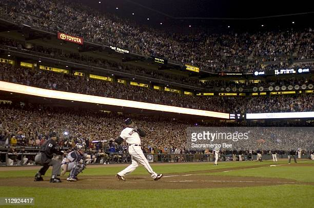 San Francisco Giants' Barry Bonds hits home run number 756 to break Hank Aaron's home run record in the fifth inning against the Washington Nationals...
