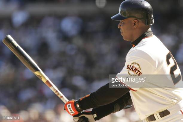 San Francisco Giants Barry Bonds stands in the batter's box versus the Los Angeles Dodgers on Saturday September 25 2004 at SBC Park in San Francisco...