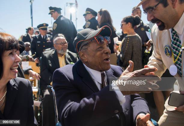 San Francisco Giants baseball Hall of Famer Willie Mays greets VIP attendees during the inauguration ceremony for Mayor London Breed on the steps of...
