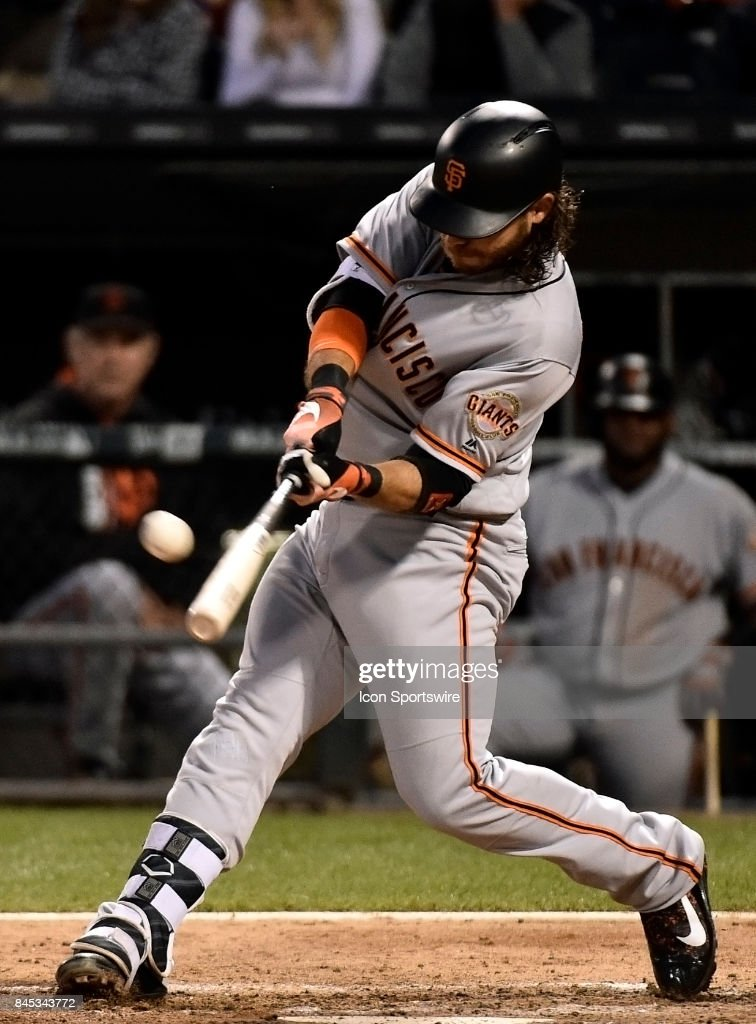 San Francisco Giants' Brandon Crawford (35) takes an at bat during the game between the San Francisco Giants and the Chicago White Sox on September 9, 2017 at Guaranteed Rate Field in Chicago, Illinois.