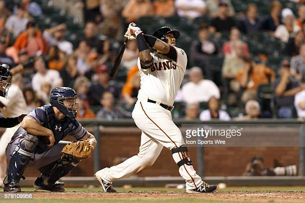 San Francisco Giants catcher Hector Sanchez flies out to Atlanta Braves left fielder Justin Upton during the ninth inning of the MLB game between the...