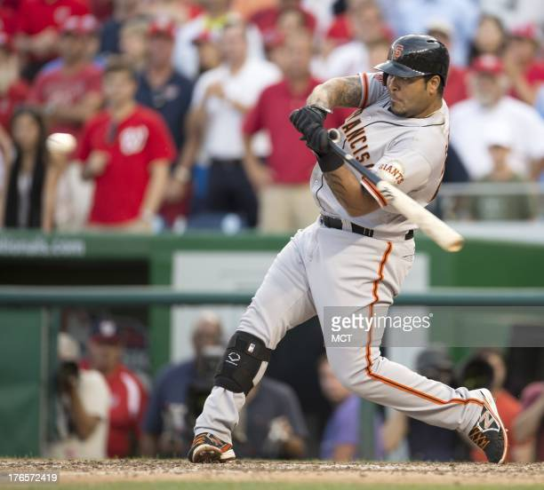 San Francisco Giants catcher Hector Sanchez hits the gamewinning threerun home run off Washington Nationals relief pitcher Rafael Soriano during the...