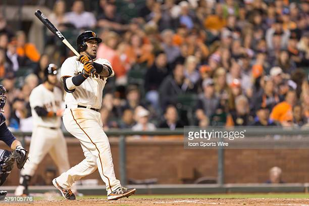 San Francisco Giants catcher Hector Sanchez singles to right field during the eighth inning of the MLB game between the San Francisco Giants and the...