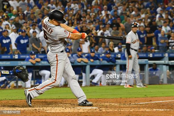 San Francisco Giants catcher Nick Hundley with the go ahead base hit in the ninth inning during a MLB game between the San Francisco Giants and the...