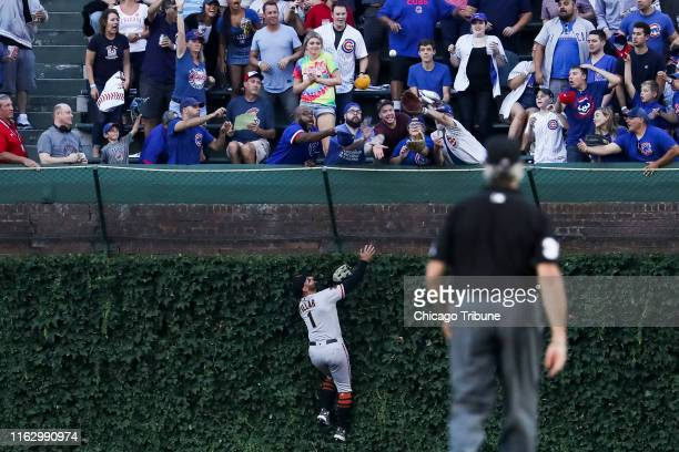 San Francisco Giants center fielder Kevin Pillar watches a ball hit by the Chicago Cubs' Nicholas Castellanos fly into the stands for a solo home run...