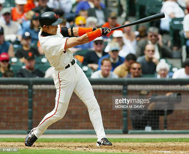 San Francisco Giants' center fielder Tsuyoshi Shinjo hits a double against New York Mets' starting pitcher Mike Bacsik during sixth inning action 22...