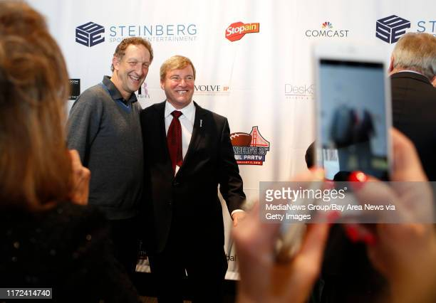 San Francisco Giants CEO Larry Baer left is photographed with sports agent Leigh Steinberg right at the 29th annual Leigh Steinberg Super Bowl party...
