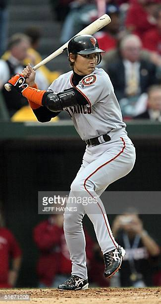 San Francisco Giants designated hitting Tsuyoshi Shinjo prepares to swing at a pitch from Anaheim Angels' Jarrod Washburn in the third inning of Game...