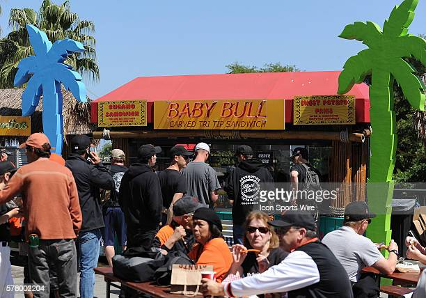 San Francisco Giants fans line up for the Tri Tip sandwich outside the