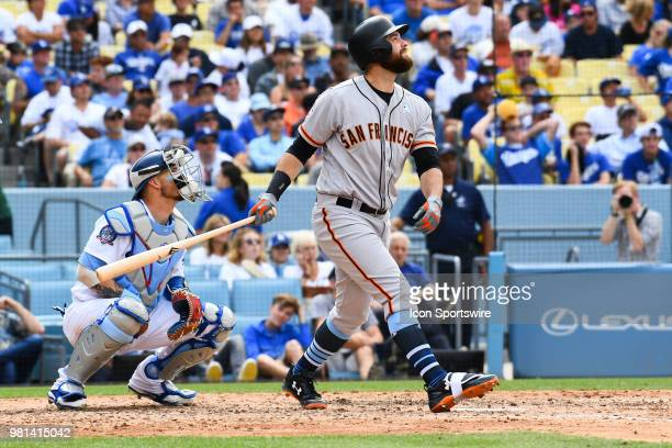 San Francisco Giants first baseman Brandon Belt hits a long fly ball during a MLB game on Father's Day between the San Francisco Giants and the Los...