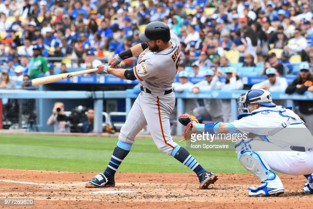 San Francisco Giants first baseman Brandon Belt hits a two run home run during a MLB game on Father's Day between the San Francisco Giants and the...