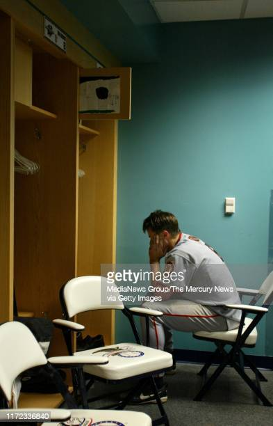 San Francisco Giants firstbaseman J.T. Snow in the locker room after the Giants lost game seven and the World Series to the Anaheim Angels 4-1. The...