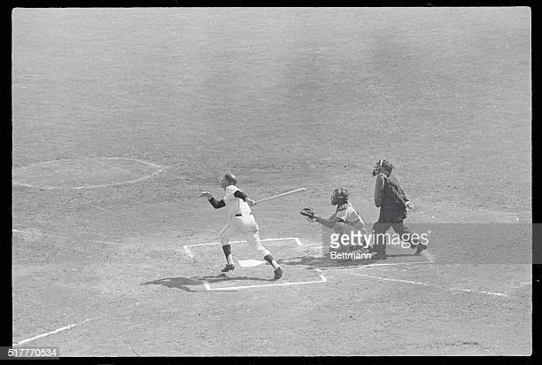 San Francisco Giant's Harvey Kuenn belts the first home run out here, in the Giants-Los Angeles game. Willie Mays also homered over right field...