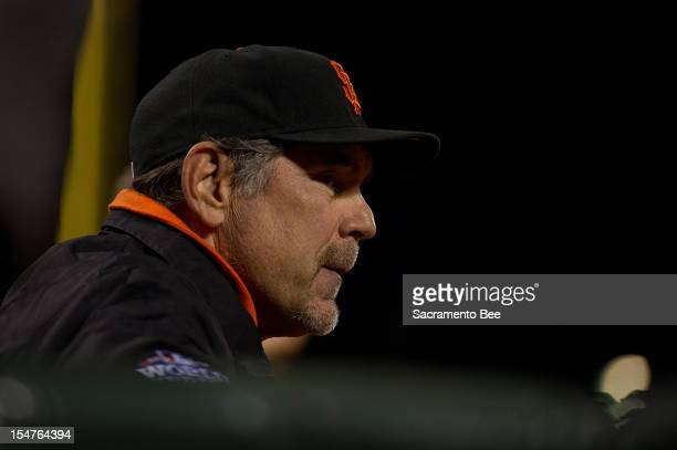 San Francisco Giants manager Bruce Bochy watches action in the seventh inning against the Detroit Tigers in Game 2 of the 2012 World Series at ATT...
