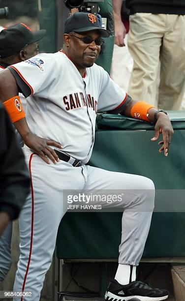 San Francisco Giants' manager Dusty Baker stands in the dug out before Game One of the World Series against the Anaheim Angels in Anaheim CA 19...