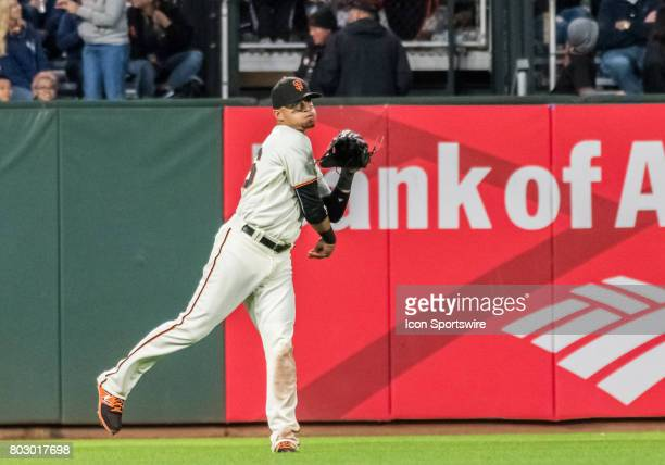 San Francisco Giants Outfield Gorkys Hernandez rockets an outfield hit back to 2nd during the regular season game between the Colorado Rockies and...