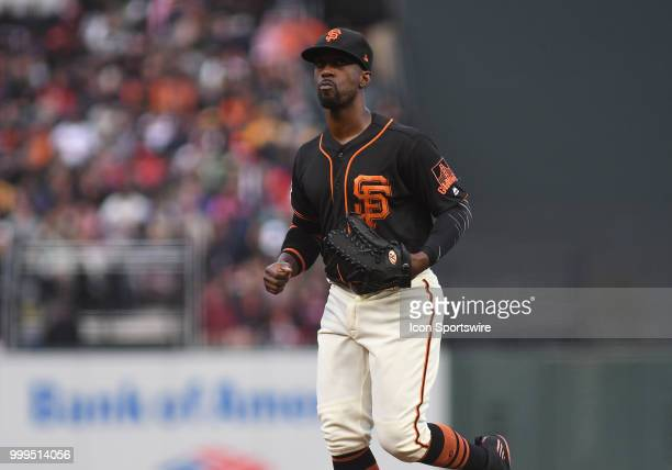 San Francisco Giants outfielder Andrew McCutchen runs off the field in an MLB game between the San Francisco Giants and Oakland Athletics at ATT Park...
