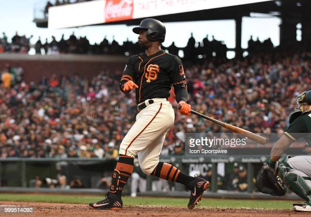 San Francisco Giants outfielder Andrew McCutchen swings during an MLB game between the San Francisco Giants and Oakland Athletics at ATT Park in San...