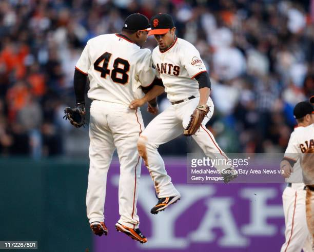 San Francisco Giants Pablo Sandoval and Andres Torres celebrate their 20 win against the Los Angeles Dodgers at ATT Park in San Francisco Calif on...