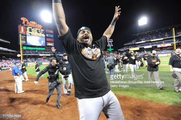 San Francisco Giants Pablo Sandoval celebrates in his new tshirt the National League pennant won during a 32 victory over the Philadelphia Phillies...