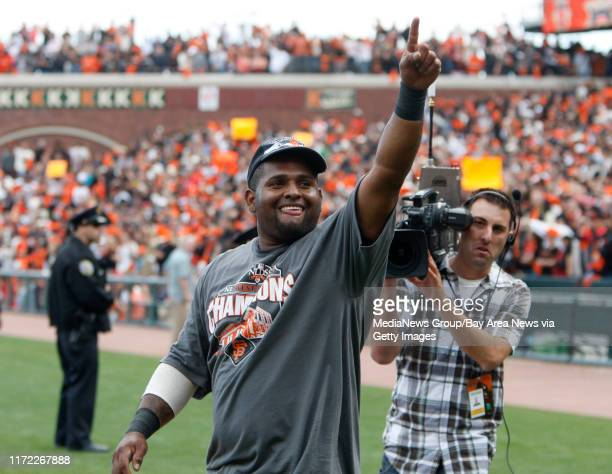 San Francisco Giants Pablo Sandoval celebrates their 30 win against to the San Diego Padres to win the NL West Division at ATT Park in San Francisco...