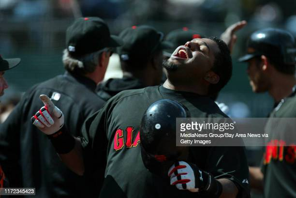 San Francisco Giants' Pablo Sandoval celebrates with teammates his three run home run off Oakland A's pitcher Trevor Cahill in the seventh inning of...