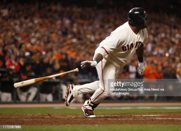 San Francisco Giants Pablo Sandoval hits a double which would score two runs against the Philadelphia Phillies in the sixth inning for Game 4 of the...