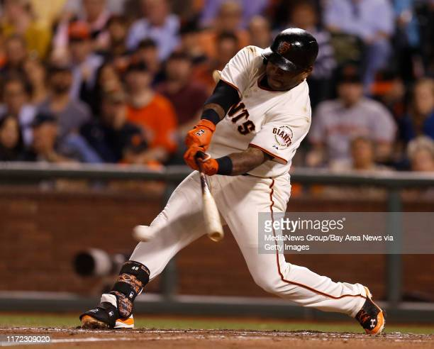 San Francisco Giants' Pablo Sandoval hits a single against the San Diego Padres in the fifth inning at ATT Park in San Francisco Calif on Tuesday...