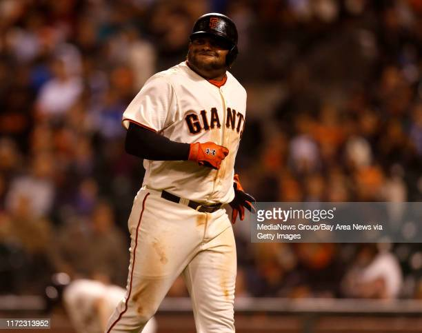San Francisco Giants' Pablo Sandoval reacts after fouling out against the Los Angeles Dodgers in the seventh inning at ATT Park in San Francisco...