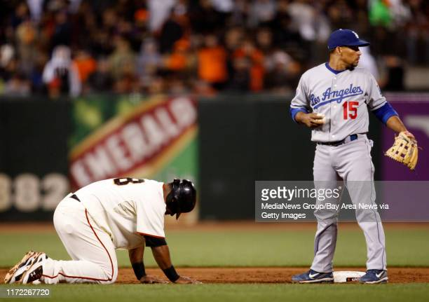 San Francisco Giants Pablo Sandoval reacts to being thrown out at second base against Los Angeles Dodgers Rafael Furcal in the sixth inning at ATT...