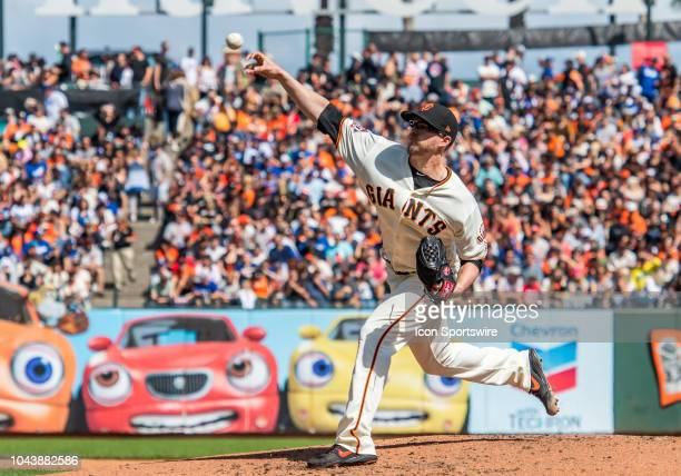 San Francisco Giants Pitcher Andrew Suarez delivers from the mound during the game between the Los Angeles Dodgers and the San Francisco Giants on...