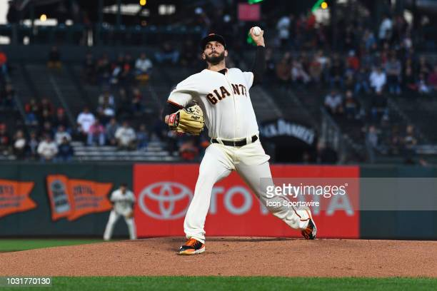 San Francisco Giants pitcher Andrew Suarez throws a pitch during a MLB game between the Atlanta Braves and the San Francisco Giants on September 11...