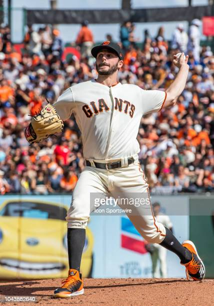 San Francisco Giants Pitcher Andrew Suarez winds up for a pitch during the game between the Los Angeles Dodgers and the San Francisco Giants on...