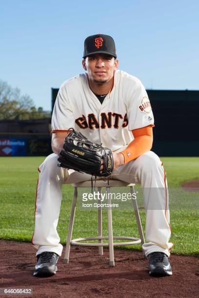 San Francisco Giants pitcher Gorkys Hernandez poses for a portrait during San Francisco Giants photo day on Feb 20 at Scottsdale Stadium in...