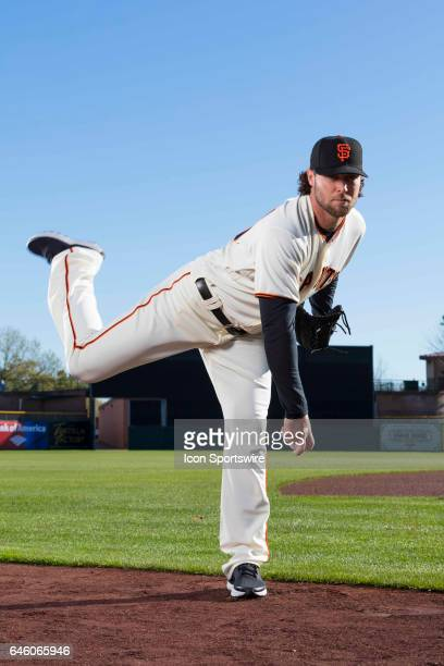 San Francisco Giants pitcher Hunter Strickland poses for a portrait during San Francisco Giants photo day on Feb 20 at Scottsdale Stadium in...