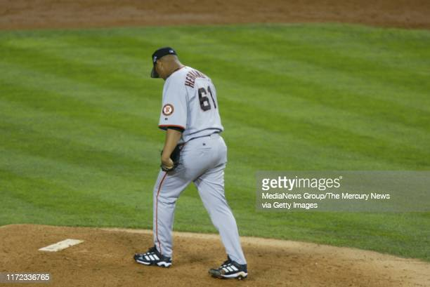 San Francisco Giants pitcher Livan Hernandez had a bad outing against the Anaheim Angels in game seven of the World Series at Edison Field in...