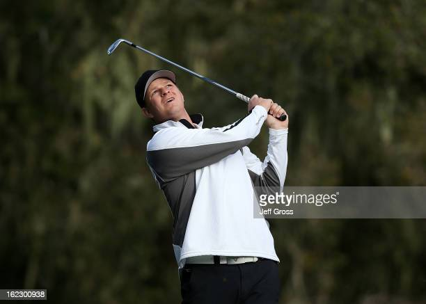 San Francisco Giants pitcher Matt Cain hits a shot during the first round of the ATT Pebble Beach National ProAm at the Monterey Peninsula Country...